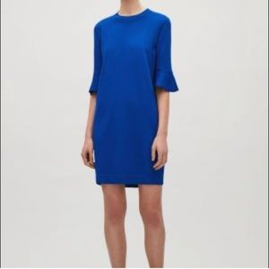 COS Vibrant Blue Sweater Dress W 3/4th Bell Sleeve